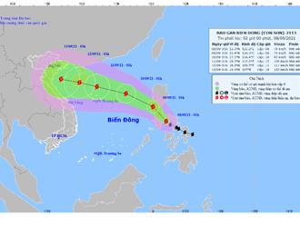 Bão Côn Sơn giật cấp 14 di chuyển vào Biển Đông, Bắc và Bắc Trung Bộ mưa lớn